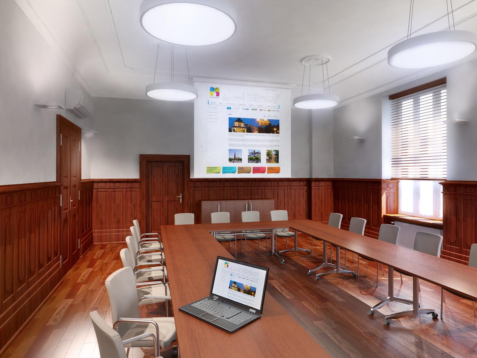 Severyn Projekt - Remont sali konferencyjnej w budynku urzędu miasta Mysłowice.